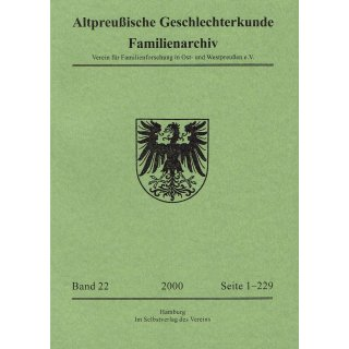 APG-Familienarchiv, Band 22 (2000)