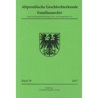 APG-Familienarchiv, Band 39 (2017) (Buch)